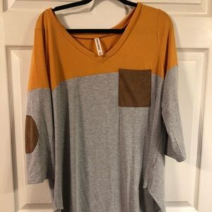 Mustard brown and grey tunic length shirt